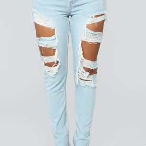 Trendy ripped jeans